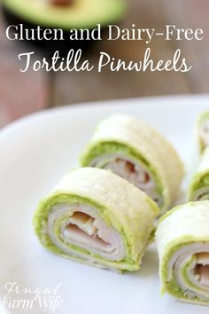 Dairy-Free Tortilla Pinwheels Gluten and dairy-free tortilla pinwheels made with turkey and an avocado spread - perfect for school lunches! and dairy-free tortilla pinwheels made with turkey and an avocado spread - perfect for school lunches! Dairy Free Appetizers, Dairy Free Snacks, Dairy Free Diet, Appetizers Superbowl, Dairy Free Salads, Dairy Free Breakfasts, Tortillas Sans Gluten, Dairy Free Recipes For Kids, Lactose Free Recipes