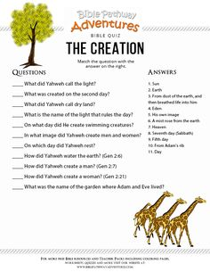 Enjoy our free Bible Quiz: The Creation. Fun for kids to print and test their knowledge of the Bible. Simply right-click the quiz and save to your computer. Feel free to share with others, too! Sunday School Activities, Bible Activities, Sunday School Lessons, Bible Games, Creation Activities, Creation Bible Crafts, Bible School Crafts, Bible Study For Kids, Bible Lessons For Kids