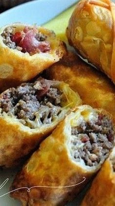 Bacon Cheeseburger Eggrolls~