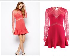Free Shipping Fashion 2014 Fashion ONE OH ONE Hot Pink Lace Dress FT647 $44.99