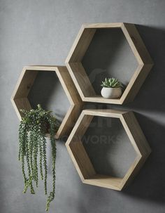 Set of Three Hexagon Shelves, Floating Shelves, Honeycomb Shelves, Geometric Shelves, Bathroom Shelv Unique Wall Shelves, Oak Shelves, Wall Shelf Decor, Wall Shelves Design, Plant Shelves, Bedroom Wall Shelves, Wooden Wall Shelves, Wooden Shelf Design, Cube Wall Shelf