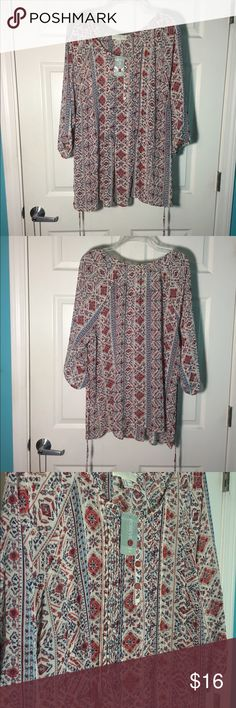 NWT forever21 plus size blouse Brand new, never worn! Very pretty delicate pattern. This blouse has strings that can be tied in the back to create a more flattering fit. Perfect for spring. Forever 21 Tops Blouses