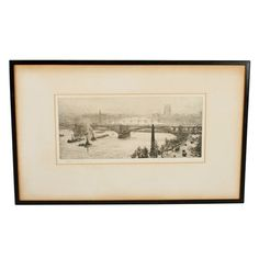 A signed etching by William Lionel Wyllie (1851-1931) of Hungerford bridge on the Thames. The scene shows Hungerford bridge in the foreground with Westminster bridge, Lambeth suspension bridge and to the right hand side Cleopatra's needle. The river is busy with shipping and the bridge is being used by cars, pedestrians and trains to the right. The etching is pencil signed 'W L Wyllie' to the bottom left. The etching is held in a thin black frame and is in good condition (Circa 1920) Cleopatra's Needle, Westminster Bridge, Suspension Bridge, Objet D'art, Painted Signs, Antique Art, Trains, Pencil, Scene