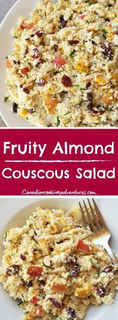 This super healthy Fruity Almond Couscous Salad Salad is the perfect summer side dish. It has hints of sweetness but is by no means overpowering because the yogurt and almonds help to balance all those sweet fruits out just right. Fun Easy Recipes, Quick Dinner Recipes, Side Dish Recipes, Budget Recipes, Summer Recipes, Easy Meals, Vegetable Recipes, Vegetarian Recipes, Healthy Recipes