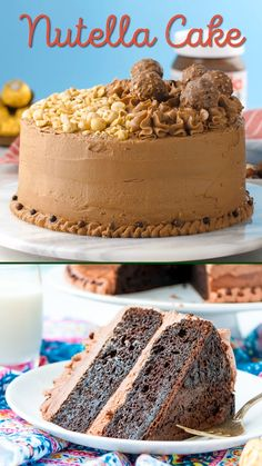 This Nutella Cake is a rich and indulgent dessert highlighting the delicious blend of chocolate and hazelnut! A chocolate cake coated in Nutella frosting! Nutella Frosting, Nutella Cake, Nutella Birthday Cake, Nutella Ganache, Chocolate Hazelnut Cake, Baking Recipes, Cake Recipes, Dessert Recipes, Vegan Desserts