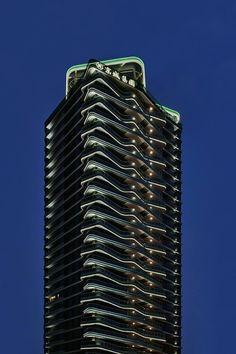Facade Lighting, Linear Lighting, Exterior Lighting, Bar Lighting, Landscape Lighting Design, Landscape Concept, Building Elevation, Hotel Concept, Facade Architecture
