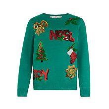 Buy John Lewis Girls' Sequin Noel Christmas Jumper, Green Online at johnlewis.com