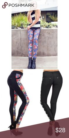 """❗️SALE❗️Manhattan Floral Two-Tone Jeggings Turn up and tune-in to the Manhattan two-tone jeggings with floral print. The perfect go-to jeggings for any winter breakers thriving on the extra day light. The Manhattan has a 2"""" inch soft waistline along with tonal belt loops, and nice pocket flares. The Manhattan has a low-rise construction along with subtle rhinestone embellishments on the front and back pocketing. Blend in with the seasons and stand out to raising sun.  60% Cotton 30%…"""