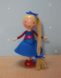 Clothespin doll with blue dress