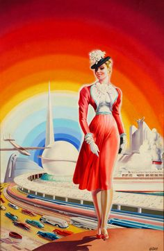A streamlined and modernist look at the attractions and Futurama-inspired architecture that graced the 1939 - 1940 New York World's Fair. Andre Durenceau Art.