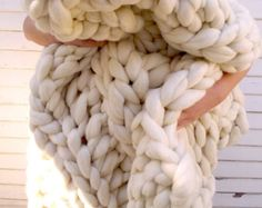 Super Chunky Knit Merino Blanket Queen Size 60 x by lilyandpeabody