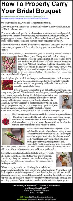 A helpful reference for brides. How to properly carry a bridal bouquet or a bridesmaid bouquet. #bouquet #wedding #flowers