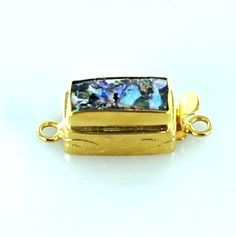 18K GOLD ANCIENT BACTRIAN GLASS CLASP PURPLE from New World Gems