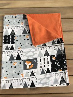 Fox Bear Deer Quilt Silhouette Forest Animal Carseat Blanket Fall Forest Flannel and Minky Blanket Nature Blanket Forest Themed bedding