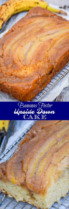 Bananas Foster Upside Down Cake | What are your dessert dreams made of? Mine are everything this Bananas Foster Upside Down Sheet Cake offers: boozy, caramelized, fruit filled, with a moist, spongy cake casing in a gorgeous presentation- that I can enjoy for breakfast OR dessert. Talk about options! | 4 Sons 'R' Us