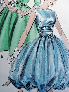 1950s BEAUTIFUL Bouffant Harem Pouff  or Flared Party Dress Pattern BUTTERICK 8747  Boat Neckline Three Style Versions Bust 31 Vintage Sewing Pattern