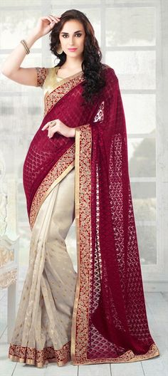 146716, Bollywood sarees, Net, Machine Embroidery, Sequence, Zari, Border, Lace, Red and Maroon, Beige and Brown Color Family