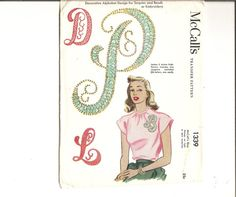 1940s Sequins Beads Alphabet Transfer Pattern by CherryCorners