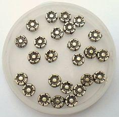 Silvertone Daisy Coin Beads by CrashsCuriosities on Etsy