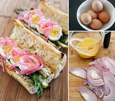 Boiled Egg, Sauteed Asparagus, and Pickled Onion