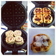 cinnamon buns in the waffle maker!