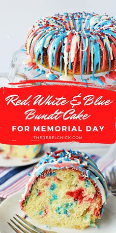 This Red, White and Blue Bundt Cake Recipe is so pretty and easy to make! This tasty little bundt cake is going to be just perfect for your summertime festivities, whether it is Memorial Day, 4th of July, Labor Day or Veteran's Day!