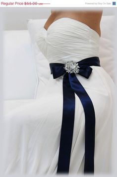 Navy Blue bridal sash, crystal sash, ribbon sash, rhinestone belt, wedding accessory, bridal belt. I would make it a cocktail dress for rehearsal dinner