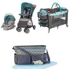 Disney Winnie the Pooh Geo Pooh Baby Gear Bundle,Stroller Travel System,Play Yard, and Diaper Bag