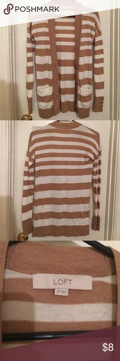 Ann Taylor Loft Striped Cardigan Tan and White Stripes, no missing buttons, had pockets, lightly worn. Sweaters Cardigans