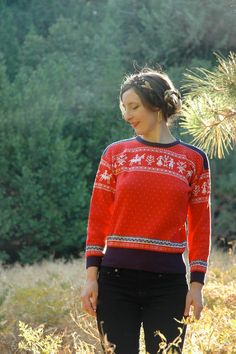 Nordic Sweater Novelty Sweater Folk Design LOVE by AstralBoutique, $28.00