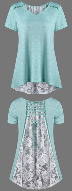 $14.19 Floral High Low Hem Lace Up T-Shirt - White And Green