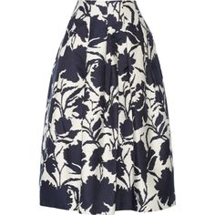 Oscar de la Renta Printed cotton and silk-blend midi skirt ($716) ❤ liked on Polyvore featuring skirts, blue, calf length skirts, oscar de la renta skirts, cotton knee length skirt, blue cotton skirt and blue skirt