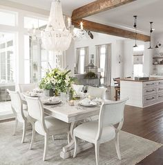 50 shades of white #white #home #transitional #diningroom #bolgiano #bolgianointeriors #flowers #tabletop #placesetting #beams #interiors #interiordesign #architecture #dining