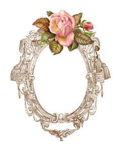 Antique Images: Free Digital Frame: Printable Frame with Pink Rose Digital Scrap