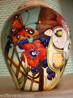 2011 New MOORCROFT Vase GUARDIAN ANGEL 4/8 Circles Of Life Butterfly.pansy