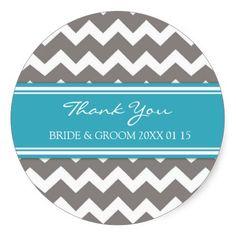 Grey Blue Chevron Thank You Wedding Favor Tags Round Stickers