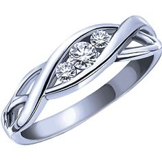 Tried this one on today... Love love love! Ben Moss Jewellers 0.15 Carat TW, 10k White Gold Three Stone Diamond Ring