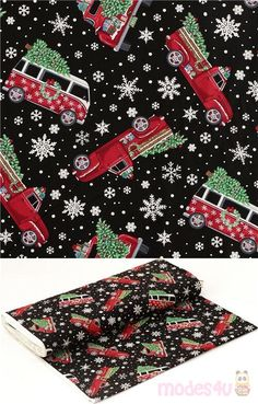 black cotton fabric with white snow crystals and red vehicles carrying Christmas trees and presents, Material: 100% cotton, Fabric Type: smooth cotton fabric #Cotton #Transport #Snowflakes #Christmas #USAFabrics Christmas Fabric, Christmas Tree, Black Cotton, Snowflakes, Cotton Fabric, Kawaii, Vehicles, Red, Teal Christmas Tree