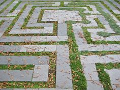 Backyard patio labyrinth with a roman quarter/meander design.