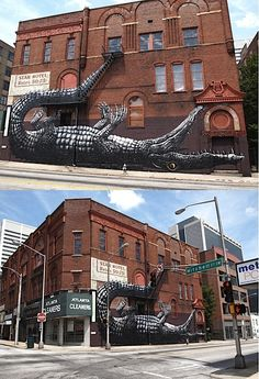 This alligator mural reminds me of Peter Pan. And look, his tail is a staircase!