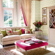 Bright accents living room | Living room furniture | Decorating ideas | Image | Housetohome Damask Wallpaper Living Room, Romantic Room, Living Room Paint, Chic Living Room, Living Room Decor, Living Rooms, Loveseat Sofa, Sweet Home, Elegant