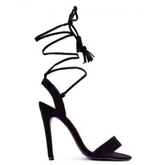 BUMP 'N GRIND BLACK LACE UP STRAPPY HEELED SANDALS ($6.14) ❤ liked on Polyvore featuring shoes, sandals, strappy sandals, strap sandals, open toe sandals, strap heel sandals and black strappy sandals