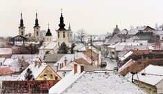 Snow blanket on the rooftops in Sremski Karlovci
