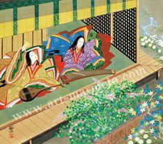 東聖観「垣間見た橋姫」源氏物語色紙