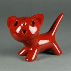 Walter Bosse - Katze 6 cm - Keramik - Karlsruher Majolika - ceramic cat - rot red