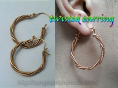 Twisted earring from copper wire - handmade jewelry design 344 - YouTube #jewelrymaking
