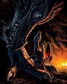 Maman et bébé dragon
