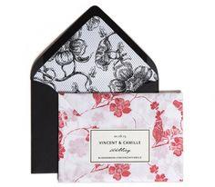 Devoir Collection / Letterpress Invitation / Floral Tissue Paper Wrap / Floral Fishnet Envelope Liner / Black Envelope / Persimmon, Coral, Red