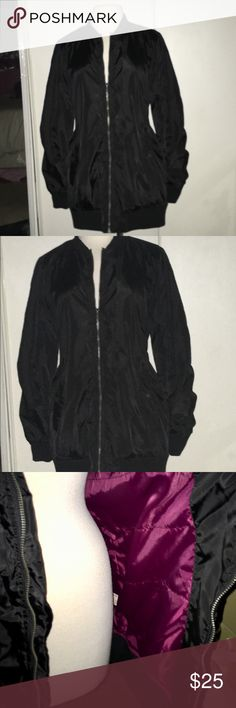 """NEW Long Satin Bomber Long black satin-feel bomber jacket; trendy yet timeless, cool yet cozy. Zip front, side snap pockets, silky maroon lining. approx 28"""" shoulder to hem. Size medium, roomy and oversized so should fit most larges as well. Brand new from jcpenny, tag fell off but plastic part still attached. Never worn. Arizona Jean Company Jackets & Coats"""