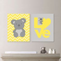 Love Koala Bear Duo. Gray. Yellow. Home by RhondavousDesigns2